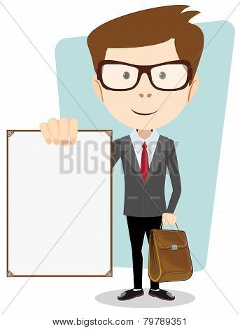 Cartoon Businessman Holding Blank Message Board.