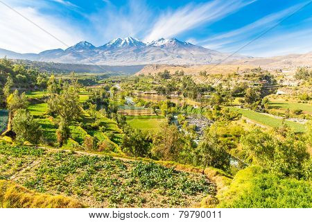 View Of The Misty Volcano In Arequipa, Peru, South America