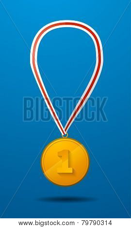 Gold medal for first place with tape icon