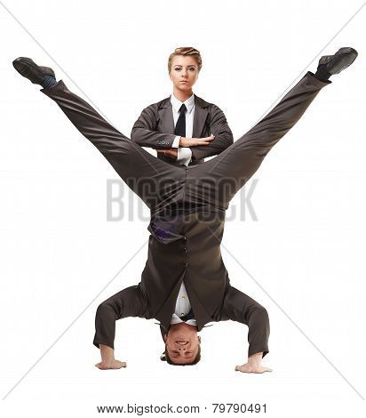 Two handsome acrobats posing in official suits