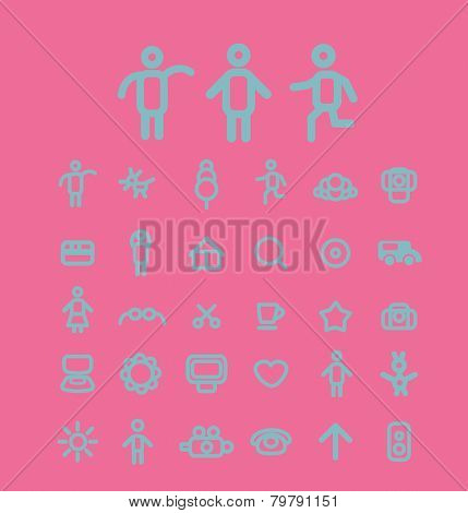 internet website icons, signs, silhouettes set, vector