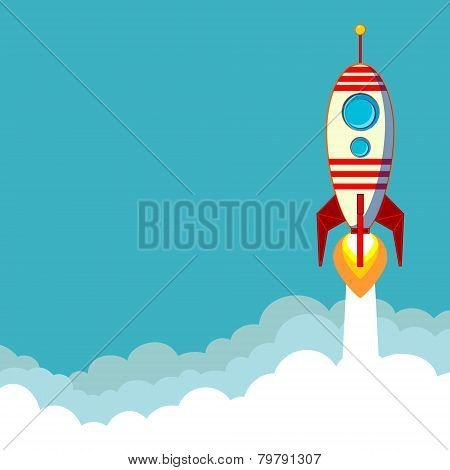 Flying Rocket with space for text