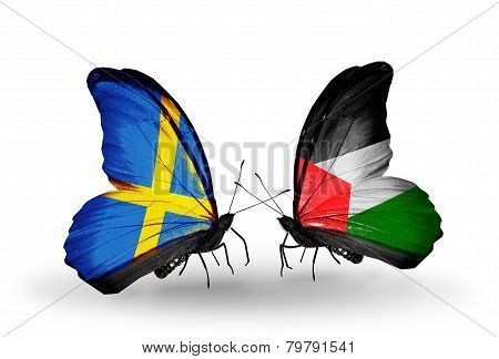 Two Butterflies With Flags On Wings As Symbol Of Relations Sweden And Palestine
