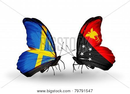Two Butterflies With Flags On Wings As Symbol Of Relations Sweden And Papua New Guinea