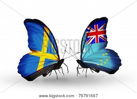 Two Butterflies With Flags On Wings As Symbol Of Relations Sweden And Tuvalu
