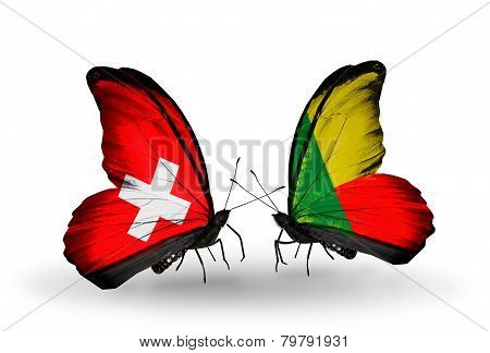 Two Butterflies With Flags On Wings As Symbol Of Relations Switzerland And Benin