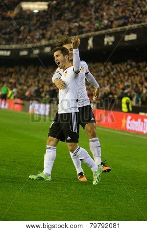 VALENCIA, SPAIN - JANUARY 4: Gaya (front) and Orban during Spanish King Cup match between Valencia CF and RCD Espanyol at Mestalla Stadium on January 4, 2015 in Valencia, Spain