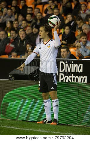 VALENCIA, SPAIN - JANUARY 4 Orban during Spanish King Cup match between Valencia CF and R.C.D. Espanyol at Mestalla Stadium on January 4, 2015 in Valencia, Spain