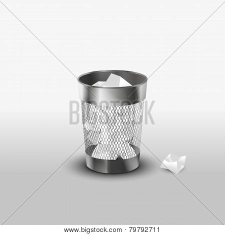 Steel trash can with paper garbage realistic icon