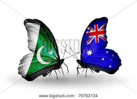 Two Butterflies With Flags On Wings As Symbol Of Relations Pakistan And Australia