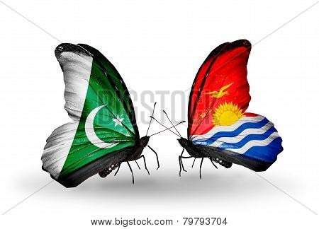 Two Butterflies With Flags On Wings As Symbol Of Relations Pakistan And Kiribati