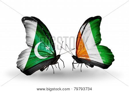 Two Butterflies With Flags On Wings As Symbol Of Relations Pakistan And Cote Divoire