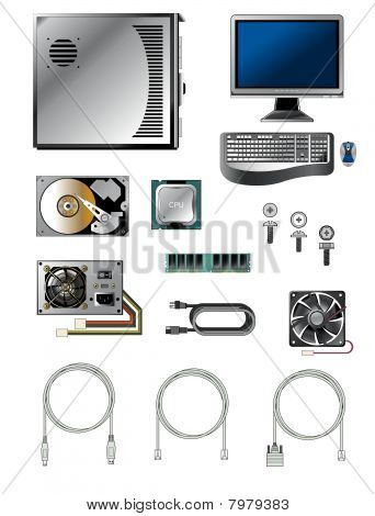 Vector illustration of various computer parts and accessories