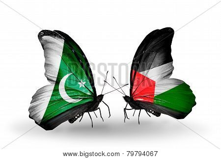 Two Butterflies With Flags On Wings As Symbol Of Relations Pakistan And Palestine