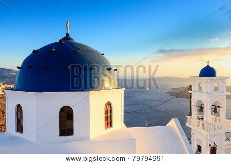 Church Of Imerovigli In The Evening Sun