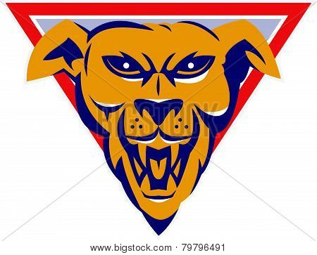 Angry Wild Dog Wold Head Triangle Retro