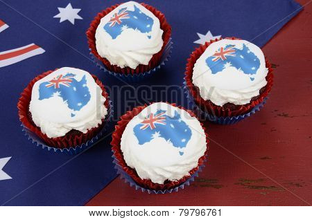 Happy Australia Day January 26 Party Food With Red Velvet Cupcakes And Australian Maps Rice Paper To
