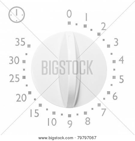 Analog 35 Minute Microwave Oven Timer, Isolated Analogue Vintage White Dial Face Macro Closeup, Grey