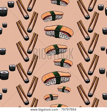 Sushi hand drawing background