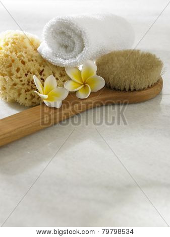 spa concept with frangipani,brush and towel