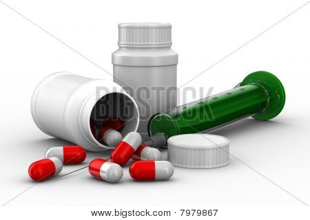 Medicaments On White Background. Isolated 3D Image