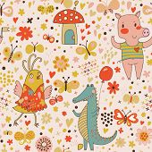 stock photo of pattern  - Cartoon birthday seamless pattern of funny animals - JPG