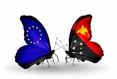 picture of papua new guinea  - Two butterflies with flags on wings as symbol of relations EU and Papua New Guinea - JPG