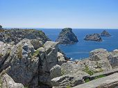 "picture of poi  - ""Les Tas de Pois"" (the ""pea-islands"") at the Pointe de Pen-Hir Crozon peninsula Finistere Brittany France - JPG"