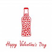 pic of glass heart  - Beer bottle with hearts inside - JPG