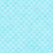 image of interlock  - Teal and White Shells with Interlocking Circles Tiles Pattern Repeat Background that is seamless and repeats - JPG