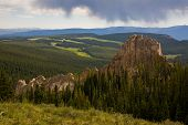 pic of colorado high country  - The afternoon sky opens up over the Wheeler geologic area in the La Garita wilderness - JPG