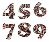 stock photo of number 7  - Number set made of mixed peppercorns  - JPG