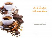 pic of cocoa beans  - Coffee cup with Dark chocolate - JPG