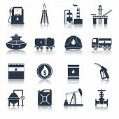 picture of fuel tanker  - Oil industry diesel canister fuel tanker gas terminal icons black set isolated vector illustration - JPG