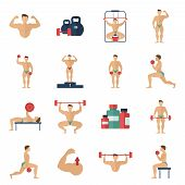 Постер, плакат: Bodybuilding Icons Set