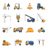 stock photo of tool  - Construction icons set with builder tools and vehicles isolated vector illustration - JPG