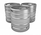 picture of keg  - 3d render of beer kegs isolated over white background - JPG