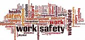stock photo of safety barrier  - Work safety word cloud concept - JPG