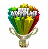 Постер, плакат: Best Workplace words and stars in a trophy or prize awarded to the company business organization o