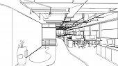 image of interior sketch  - drawing outline sketch of a interior space - JPG