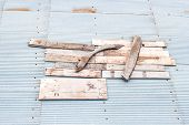pic of collapse  - Collapsed roofs were repaired by a physician through the wood - JPG