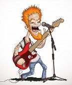 foto of guitarists  - Illustration of Rock guitarist with a solo guitar and singing into a microphone - JPG