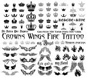 foto of bat wings  - Set og black and white design elements for tattoo monograms - JPG