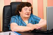Older Business Woman In Office Using Laptop