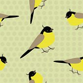 picture of neutral  - Sweet seamles pattern with little yellow birds on a neutral beige beackground decored with polka dots - JPG