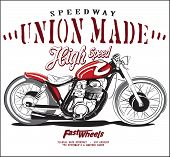 picture of motorcycle  - illustration sketch motorcycle with t shirt prints - JPG