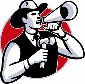 stock photo of shout  - Illustration of a cowboy auctioneer with gavel hammer shouting on bullhorn set inside circle done in retro style - JPG