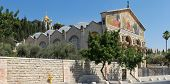 stock photo of church mary magdalene  - Panorama of the Church of All Nations and the dome of the Church of Mary Magdalene in the background Jerusalem - JPG