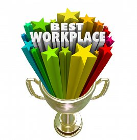 image of trophy  - Best Workplace words and stars in a trophy or prize awarded to the company - JPG