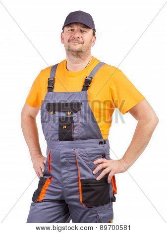 Worker in overalls.